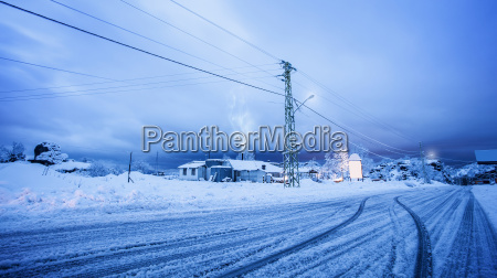 village covered with snow