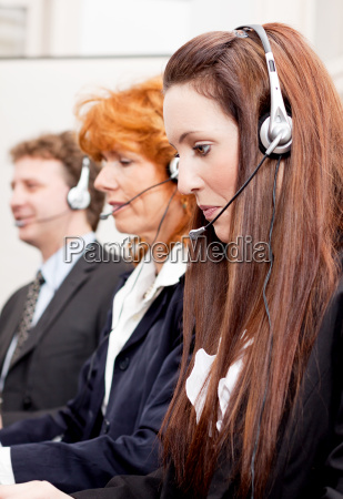 young service team in a call