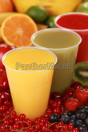 fresh juice in cups