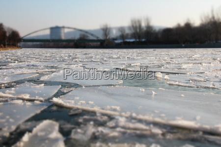 ice floes on the river neckar