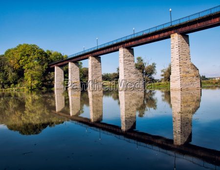historic railroad trestle reflection