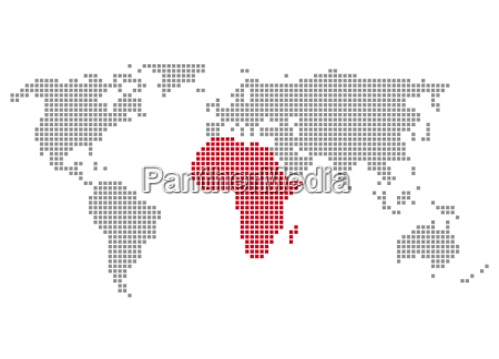 world map from pixels africa