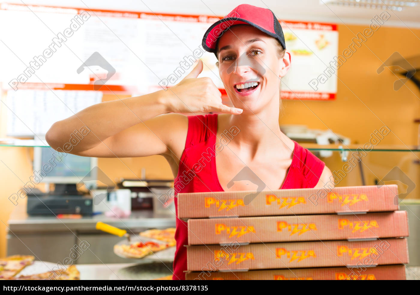 delivery, service, -, woman, holding, pizza - 8378135
