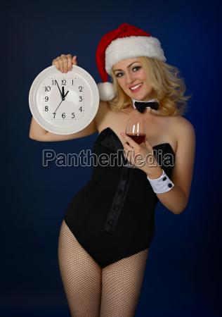 girl in the hat of santa