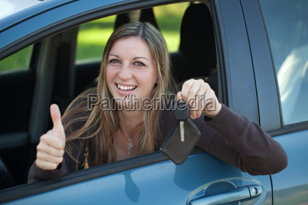 happy motorist with key