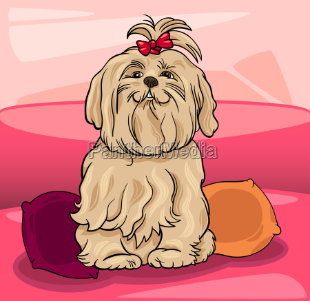 cute maltese dog cartoon illustration