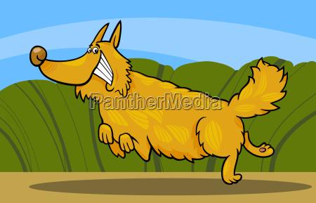 cartoon happy shaggy playful dog