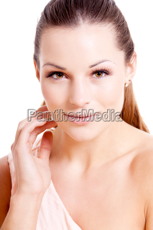 young pretty woman with light makeup