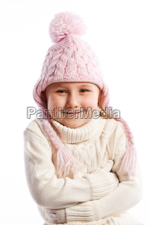 little girl in warm clothes
