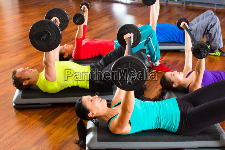 group with weight training in the