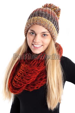 pretty woman with woolen cap