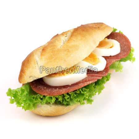 breakfast bun with salami and egg