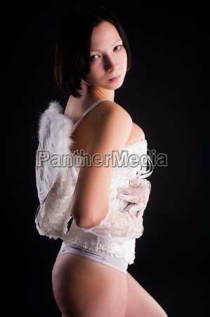 young woman as angel
