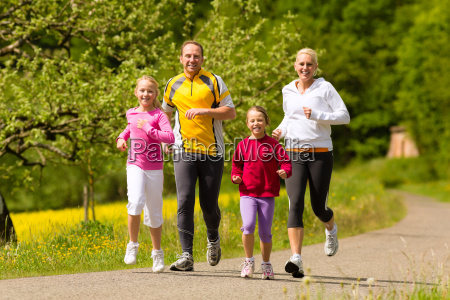 family jogging as a sport in