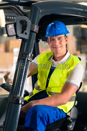 forklift operator in warehouse of freight