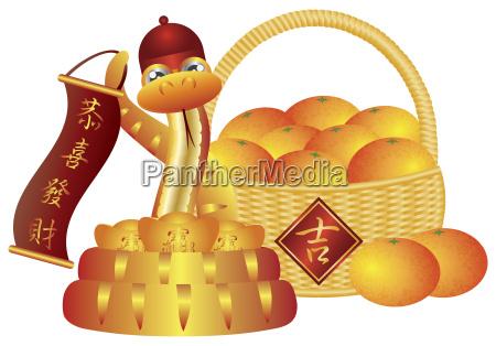 chinese new year basket of oranges