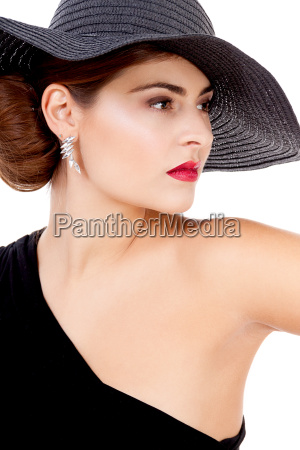 glamorous young woman with black and