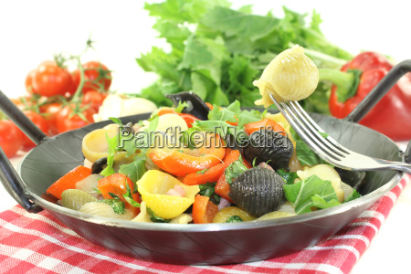 fresh pasta dish with peppers