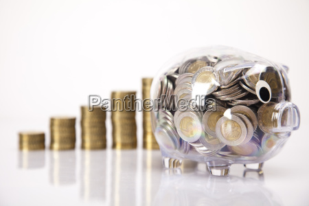pig bank and money coin