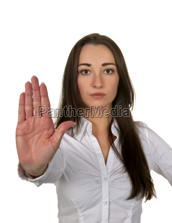 businesswoman showing stop