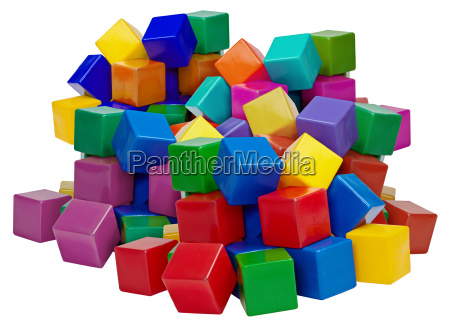 big pile of plastic blocks isolated