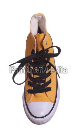topview of yellow sneaker
