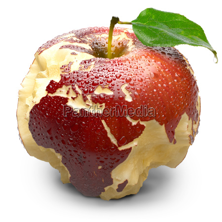 apple with carved continents europe and