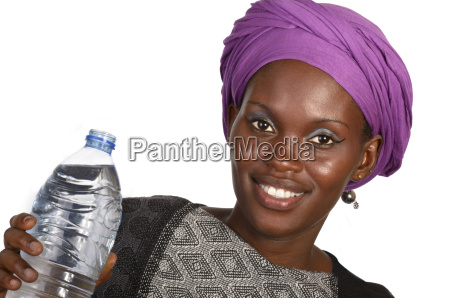 pretty african woman with water bottle