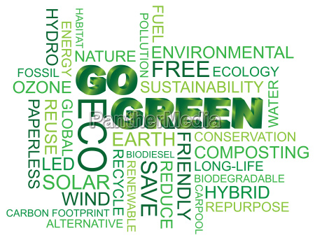go green word cloud illustration