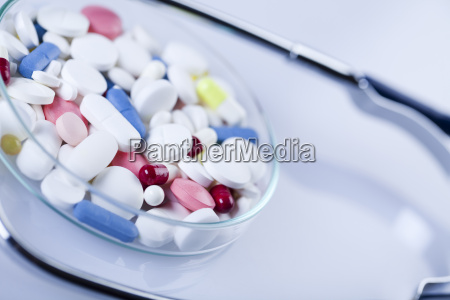 tablets medicines and stethoscope