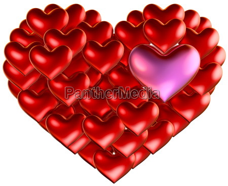 set of red hearts put in