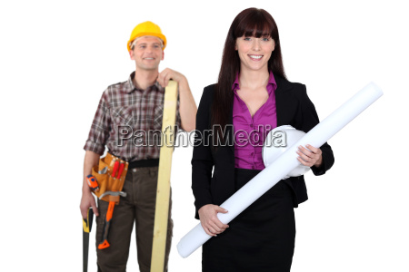 tradesman admiring a female engineer from