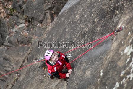child in sport climbing
