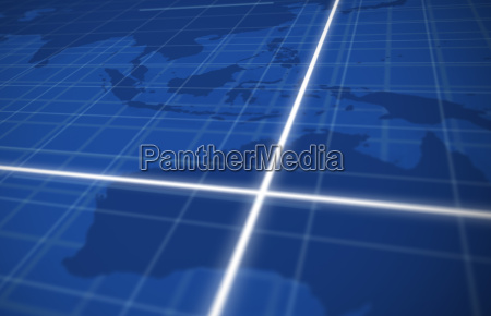 digital global grid in blue with