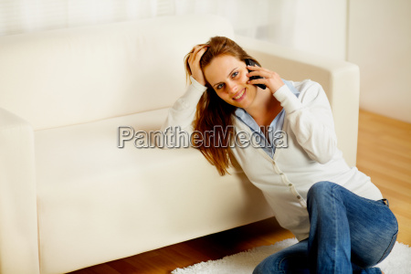casual woman on cell phone at