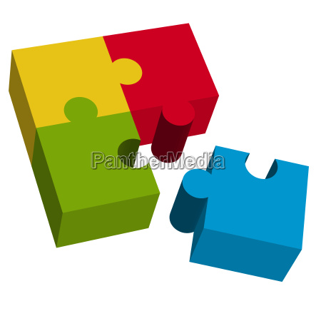 3d puzzle square with loose part
