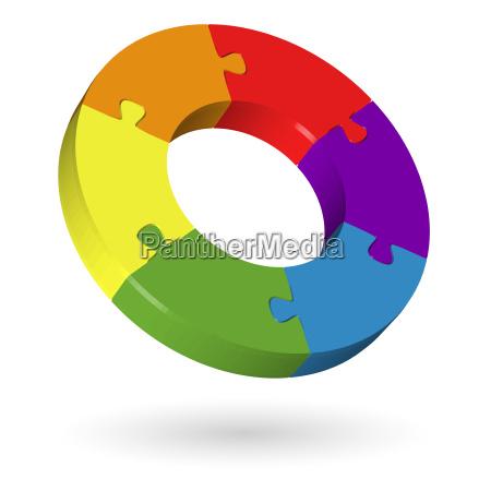 3d puzzle circle 6 parts