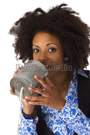 african american woman with dosentelefon