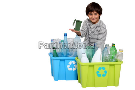 little boy waste sorting