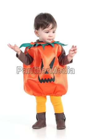 baby with a halloween pumpkin disguise