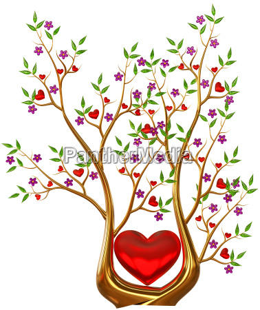 golden tree with hearts and flowers