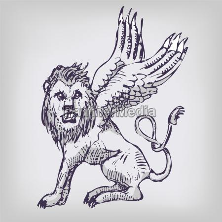 drawing lion wings hybrid creatures mythology