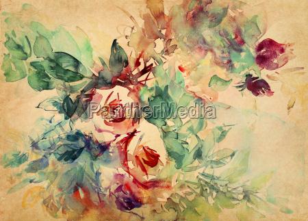 roses watercolor parchment