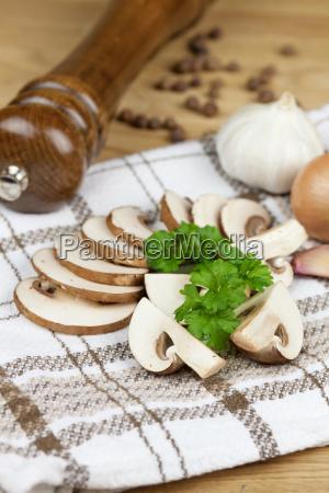 fine mushrooms slices