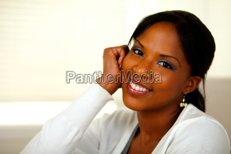 afro american young woman looking at
