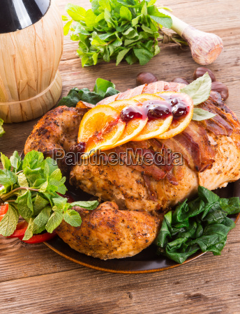 baked turkey with chestnut filling and