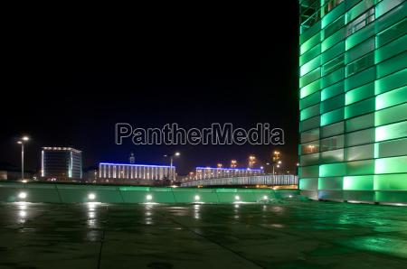 green modern building at night