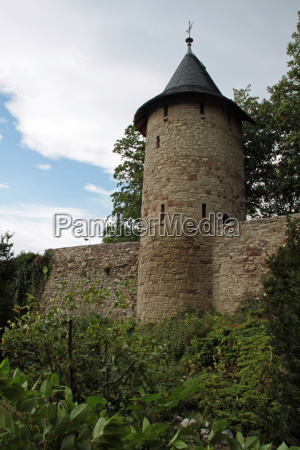city wall wernigerode with half shell