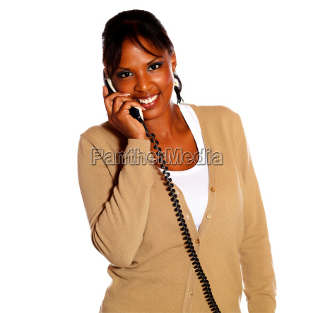 young black woman talking on phone