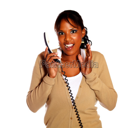 excited woman talking on phone and